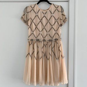Topshop Beaded Skater Dress - Size 4 / Small